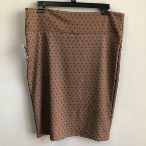LuLaRoe Skirts - NWT LuLaRoe Cassie brown square polka dot 2XL.